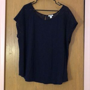 Navy blue top with lace sleeves